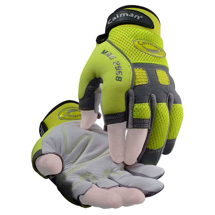 2958 - Sheep Grain Leather, Hi-Vis Reflective, Fingerless